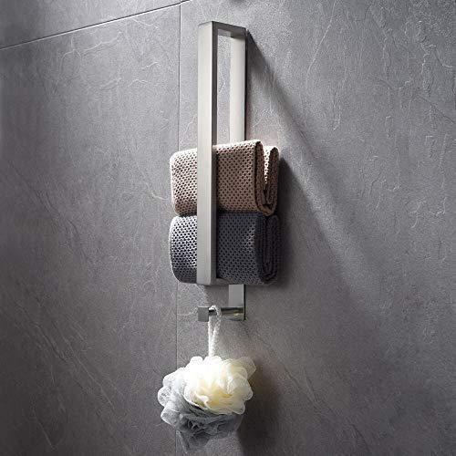 Lolypot toallero de acero inoxidable, toallero sin taladrar, toallero para invitados autoadhesivo, toallero adhesivo para baño, toallero para invitados 40cm con gancho para baño (Plata cepillada)