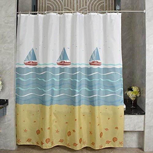 Duschvorhang Anti-Schimmel und Wasserdicht Boot Polyester Fabric Badvorhang mit verstärktem Saum, mit Haken 120/150/180/200/240 x 200cm