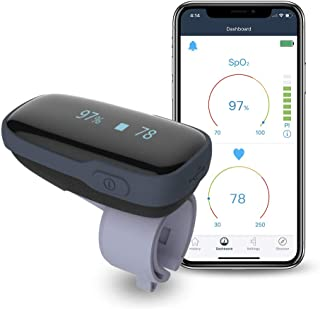 ViATOM Oxygen Saturation Monitor, Wireless Blood Oxygen Monitor with Audio Reminder on Device & Smartphone Free APP, Finger Wearable O2 Levels Meter Pulse Rate Tracker Oxylink