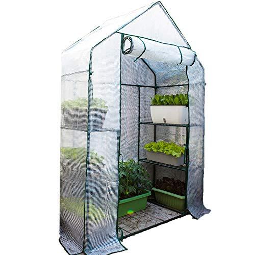 Serres,Maison À Effet De Serre Succulentes Tomate Solarium Garder Au Chaud Imperméable Avec Fermeture Éclair Portable (Color : White-2pcs, Size : 143x73x195cm)