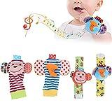 Sonajeros de muñeca bonitos de felpa, calcetines de juguete para bebés, para bebés de 0 a 2 años, bebés de 0 a 2 años que juegan en casa(A set of socks for the wrist)