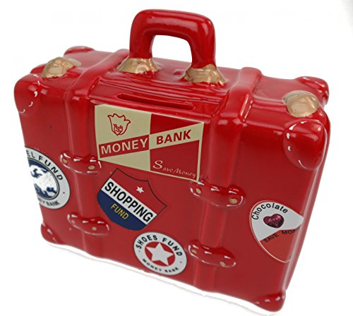 Spaarpot koffer Spaarvarken vakantie rood