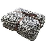 MYLUNE HOME 100prozent Baumwolle Decke Strickdecke Tagesdecke kuscheldecken für Die Ganze Saison, Baumwoll -Thermodecke, 47'' x 70''(120 x 180cm, Grün-Grau