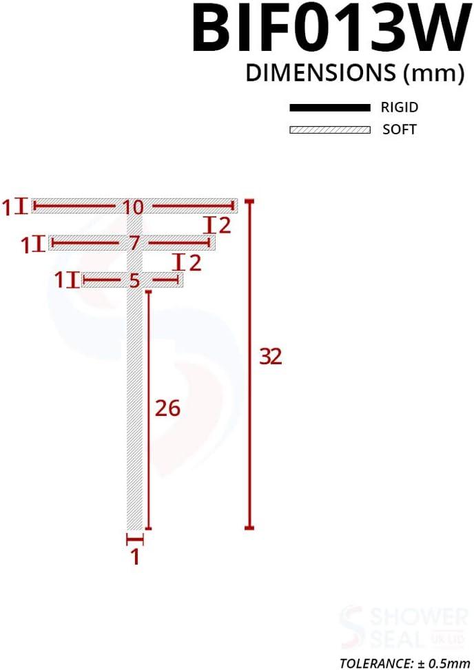 Color : F10mm x 2Meters Joint Douche 2 m/ètres//lot /élargies F//h forme bande d/étanch/éit/é vitre porte salle deau en caoutchouc silicone d/étanch/éit/é for le verre 6//8//10//12 mm