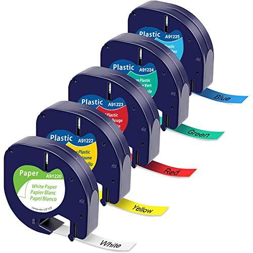 5x MarkField Etikettenband Kompatible als Ersatz für Dymo Letratag Band 12mm Schriftband für Letratag XR XM LT-110T LT-100T LT-100H 2000 Plus, Schwarz auf Weiß/Rot/Gelb/Blau/Grün