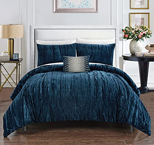 Chic Home Westmont 4 Piece Comforter Set Crinkle Crushed Velvet Bedding-Decorative Pillow Shams Included, Queen, Navy