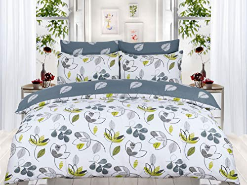 Divine Textiles Luxury Hotel Quality 100% Egyptian Cotton Reversible Duvet Cover Set, Bloom - Double