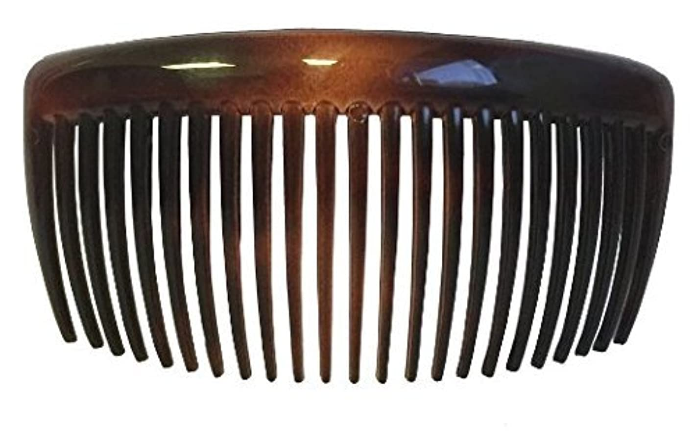 雑種美的高いParcelona French Large 2 Pieces Glossy Celluloid Shell Good Grip Updo 23 Teeth Hair Side Combs 4.25 Inches for Thick Long Hair [並行輸入品]