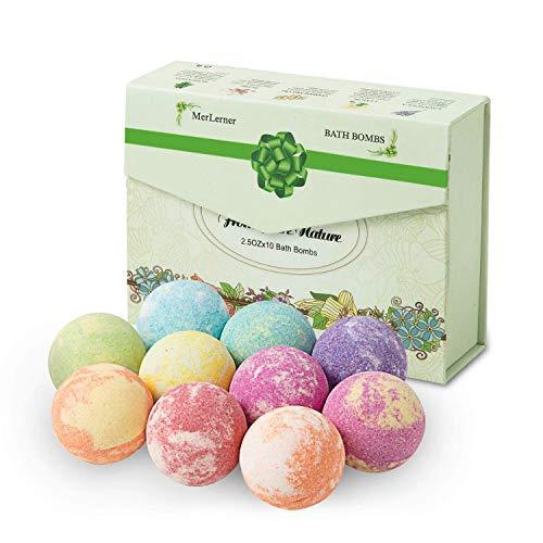 HBselect Bombas De Baño 10 piezas,Bolas De Baño Espuma Con Aceites Esenciales Aromaterapia Fragancias Relajantes Set De Regalo Para Mujeres Amigas