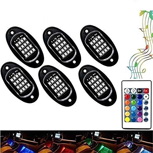 NBWDY 6 Pods RGB LED Rock Lights with Smartphone Bluetooth Controller,15 DIY Modes,Timing Function,Music Mode- Neon Lights Kits Fits Most Off Road, Truck,SUV,ATV, Motorcycle