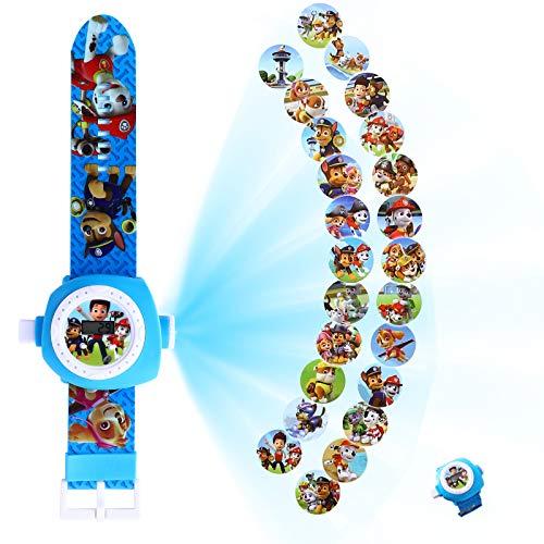 YNK Armbanduhren Spielzeug Kinder, Armbanduhr mit Projektion Paw Patrol, Einstellbare Digitale Projektionsuhr-24 Bilder, Kindergeburtstag Mitgebsel für Jungen Mädchen (B)