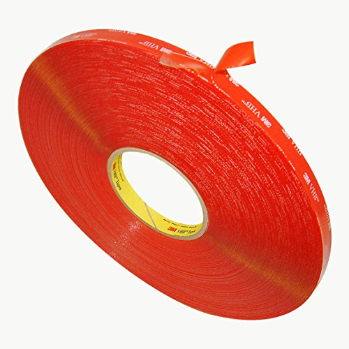 """3M VHB 4905 General Purpose Acrylic Adhesive Tape, 20 mils thick, 72 yds Length x 1/2"""" Width, Clear"""