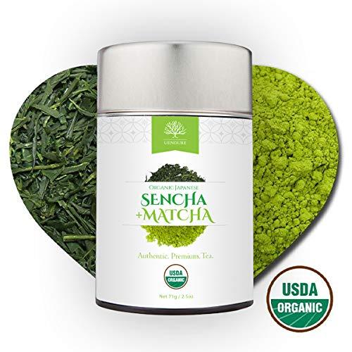 Sencha Loose Leaf Green Tea Mixed with Matcha Powder - Certified Organic -...