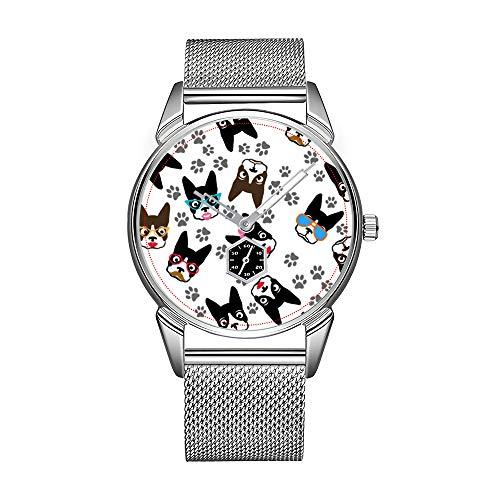 Mode Herrenuhr silbernen Edelstahl wasserdicht Uhr Herren Top-Marke Herrenuhr Uhr Boston Terrier niedlichen Schnurrbart lustige Gesichter Armbanduhr