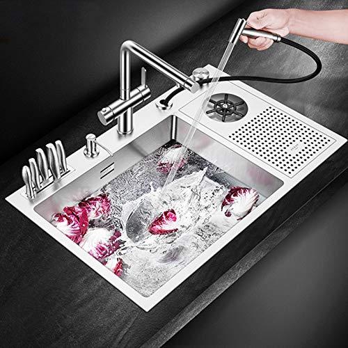 JJZXD Hecho a Mano Cepillado Fregadero de Acero Inoxidable 304 de 4 mm de Espesor de Alta presión Copa Lavadora Barra del Fregadero de Cocina con el Cuchillo Titular (Color : Set 6)