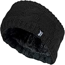 Heat Holders - Ladies Thick Cable Knitted Fleece Lined Thermal Winter Empty Skull Ear Warmer Headband