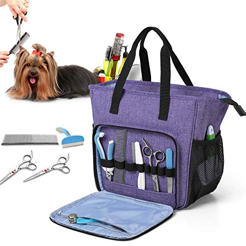 Teamoy Grooming Tasche für Hunde, Hundepflegeset Tasche für Hundepflegeknipser, Klauenpflege, Pflegebürste, Fellpflege Kamm, Shampoos und andere Haustierpflege Zubehörs, Lila