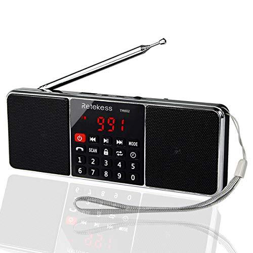 Retekess TR602 Am FM Radio Estéreo Portátil con Reproductor de MP3 Inalámbrico Altavoz Entrada AUX Soporte Tarjeta TF Unidad USB Temporizador de Apagado (Negro)
