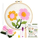 Pllieay Punch Needle Embroidery Starter Kits Include Instructions, Punch Needle Fabric with Pattern, Yarns, Embroidery Hoops for Rug-Punch & Pinch Needle(Flowers)