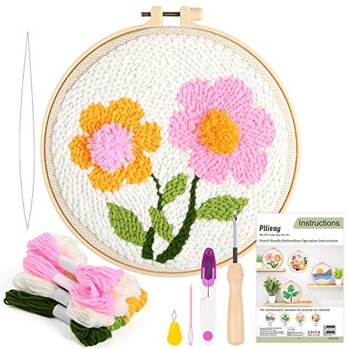 Pllieay Los kits de iniciación de bordado de aguja de perforación incluyen instrucciones, tela de aguja de perforación con patrón, hilos, aros de bordado para alfombra y aguja de pellizco (flores)