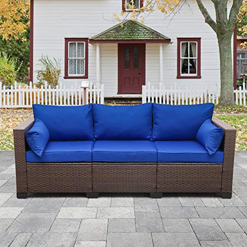 3-Seat Patio PE Wicker Couch Furniture Outdoor Brown Rattan Sofa with Washable Blue Cushions
