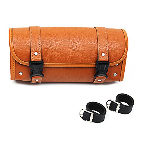 ILS - Motorcycle Saddle Bag Scooter Handlebar Bags Storage Tool Pouch Luggage Cruiser Tank Bag Brown