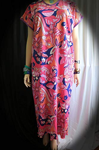 Women's Groovy Pink Maxi Dress - Fits Plus L to 2XL - Made in Hawaii - Stretch Comfortable and Beautiful Special Orders Welcome