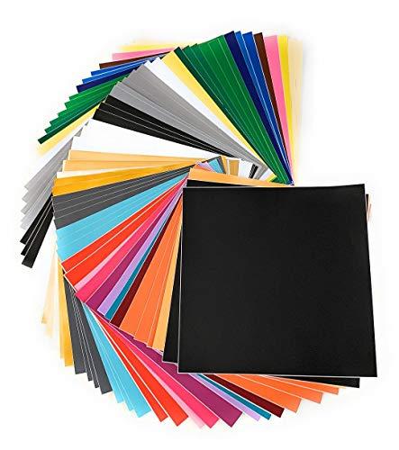 "Self Adhesive Vinyl Sheets, 55 Pack, 12""x12"", Assorted Colors by American Deluxe Vinyl Craft, Premium Permanent Vinyl Bundle for Cricut Maker, Silhouette Cameo Vinyl, Cricut Vinyl Explore Air, Decals"