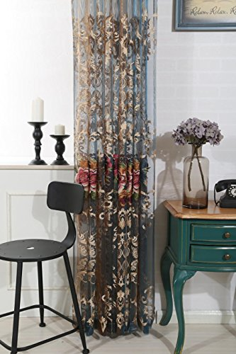 AiFish 1 Panel European Style Elegant Floral Embroidered Sheer Rod Pocket Curtain Panel Home Decorations Curtains Voile Drapes Tulle Curtains for Bedroom/Living Room 52 Inches Wide by 63 Inches Long