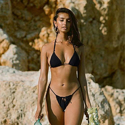 Bikini Hot 2019 New Summer Frauen Solid Bikini Set Push-Up Ungepolsterten BH Badeanzug Bademode Triangle Bather Anzug Badeanzug Biquini M Schwarz