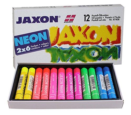 Honsell 47408 - Jaxon Ölpastellkreide, 12er Set, 2 x 6 Neon-Farben im Kartonetui, brillante, lichtechte Farben, für Künstler, Hobbymaler, Kinder, Schule, Kunstunterricht, frei von Schadstoffen
