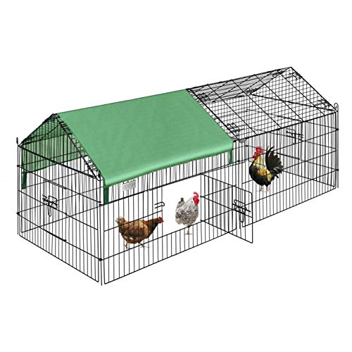 "DEStar 71"" x 30"" Foldable Outdoor Backyard Metal Coop Chicken Cage Enclosure Duck Rabbit Cat Crate Playpen Exercise Pen with Weather Proof Cover"