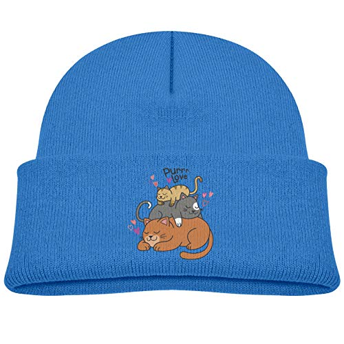 Purr Love Sleeping Cat Winter Cold Children Knitted Hat Warm Hedging Cap Boys Girls Cotton Beanie Blue
