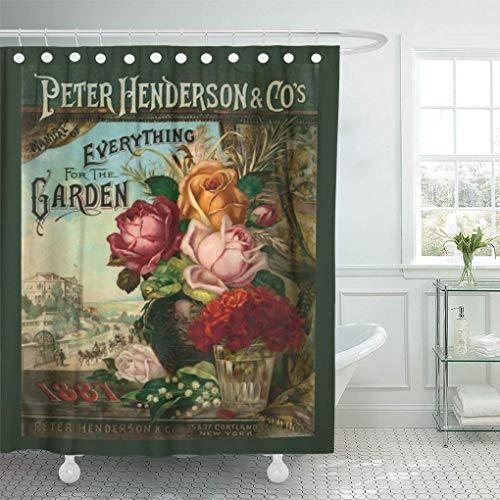 N\A Cortina de Ducha Jardín Catálogo de Semillas Vintage Flores Broadsides Antiguas Decoración del hogar Baño Impermeable Cortinas de baño con Ganchos