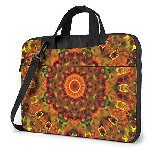 Neoprene Laptop Sleeve Case, Orange Mandala Kaleidoscope Portable Laptop Bag Business Laptop Shoulder Messenger Bag Protective Bag 15.6 Inch