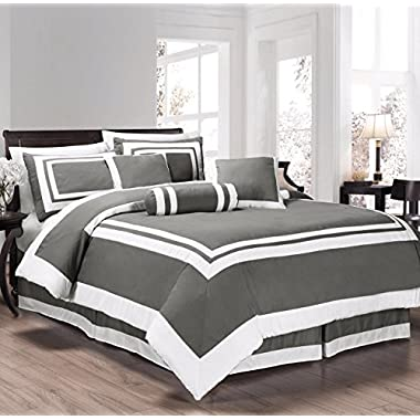 Chezmoi Collection 7 Pieces Caprice Gray/White Square Pattern Hotel Bedding Comforter Set (Queen, Gray/White)