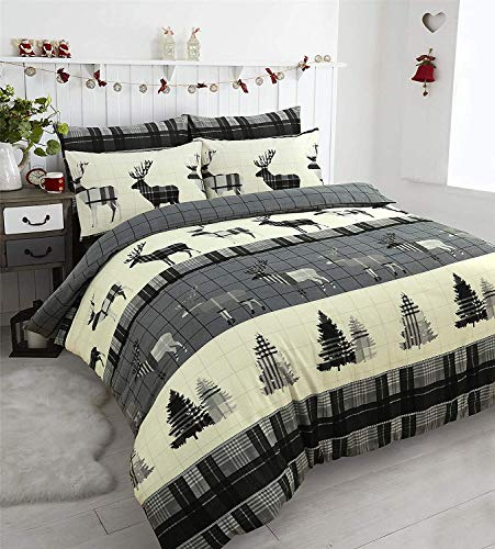 Bluemoon Bedding 100% Brushed Cotton Flannelette Xmas Stag Duvet Cover Set Pillowcase (Grey Stag, Double)