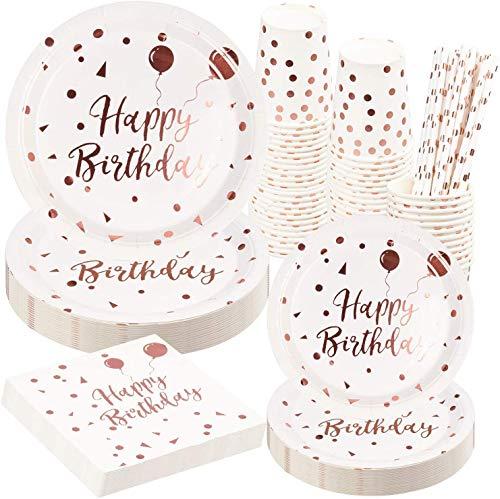 Rorchio Partygeschirr Rosegold 24 Gäste, Partygeschirr Geburtstag Teller, Tassen, Servietten Geburtstag für Einweggeschirr Geburtstag Mädchen