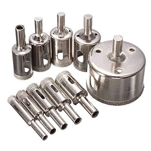 Brocas Para 10pcs 8-50mm de diamante con revestimiento de orificio de orificio conjuntos de broca para azulejo de cerámica de vidrio de mármol de vidrio de metal, herramientas de cortador de dientes
