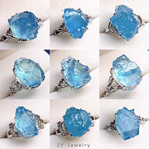 ISMILE Anello Regolabile in Cristallo Blu Acquamarina Naturale Anello in Argento 925 18X1M Trasparente con Perline in Materiale Grezzo Aaaaa