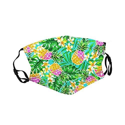 Cartoon Anime Tropical Pineapple Face Reusable Mask Unisex Washable Cartoon Masks Men Woman Kids Face Cover Outdoor Breathable Masks Black