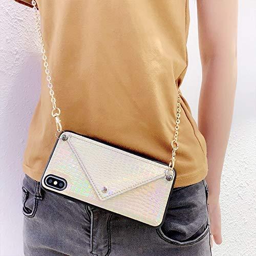Vegan Python Snake Skin Leder Handykette kompatibel mit iPhone 11, Handyhülle mit Umhängeband, Handykordel mit Schutzhülle, Necklace Hülle mit Band, Stylische Kette mit Case für Smartphone