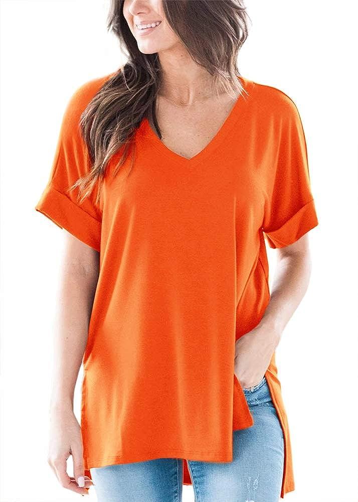 Apbondy Womens Oversized T-Shirts Short Sleeve V Neck Basic Summer Tops Casual Tunic Shirts
