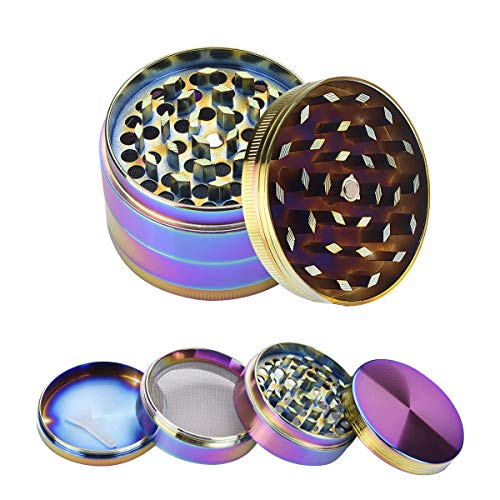WEGRIND Herb Grinder Spice Crusher 2 inch 4 Pieces Metal Grinders with Pollen catcher Platinum Grinders with Zinc Magnetic Lid Grinds Herb and Dry Leaf Rainbow