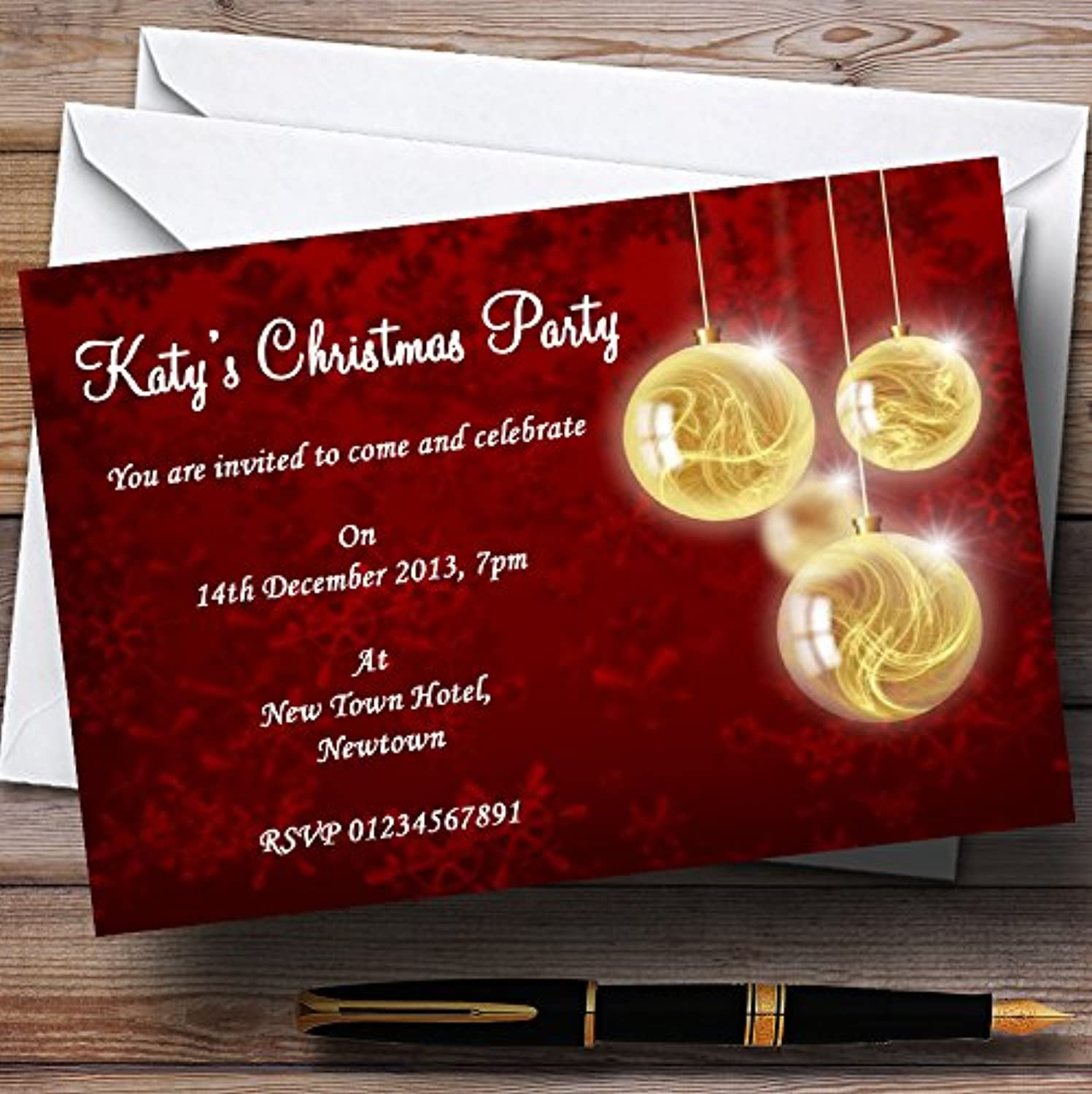 Deep Red Personalised Christmas   New Year   Holiday Party Invitations   Invites & Envelopes