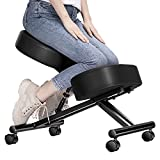 Ergonomic Kneeling Chair Adjustable Stool with Thick Foam Cushions and Smooth Gliding Casters for Home, Black