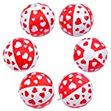 Aneco 10 Pack Heart Beach Balls Valentine's Day Beach Balls Heart Pattern Red and White for Valentine's Day Decor