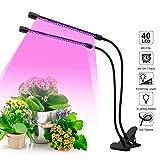 Pflanzenlampe, PDGROW LED Pflanzenlicht 40W Pflanzenleuchte 40 LED Vollspektrum Wachstumslampe für Zimmerpflanzen mit Doppelkopf, 3/9/12H Timer, 9 Dimmbaren Ebenen, 360 Grad verstellbarer Schwanenhals
