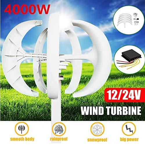 SISHUINIANHUA 4000W White Wind Turbines Generator + Steuerung 12V24V 5 Blades Laterne Vertikale Die Achsen für Wohn Haushalt Straßenbeleuchtung,12v,4000w