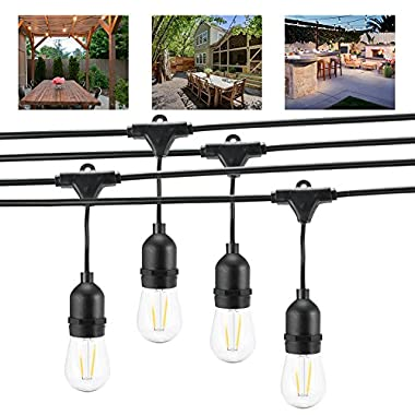 Openuye 24Ft LED String Light Linkable Outdoor Decorative S14 Strand Lights with 12 Hanging Sockets for Wedding Patio Garden Porch Party Backyard Deck Yard